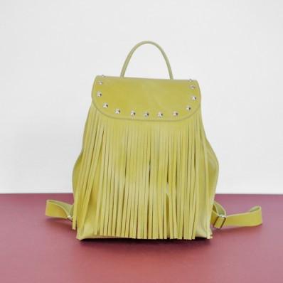 Женский кожаный рюкзак Ethnic Lemon желтый