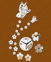 Стикеры часы настенные круг с бабочками зеркальный