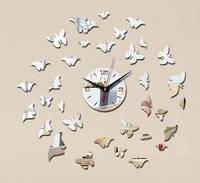 Зеркальные виниловые наклейки - часы настенные круг c бабочками декоративные стикеры зеркальные