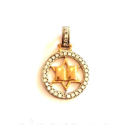 Золотой кулон звезда Давида