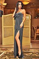 Платье женское длинное бархатное с разрезом до бедра P4108