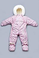 Детский зимний комбинезон-трансформер на меху для девочки (розовые спиральки)
