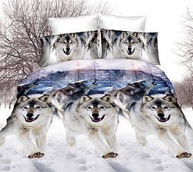 Полуторный комплект постельного белья Волки