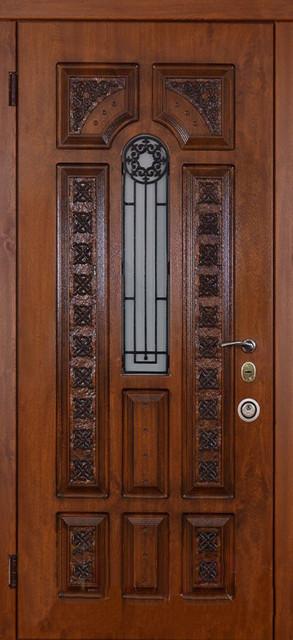 Двери входные модель Альма Finestra + Демир glass (винорит и патина)