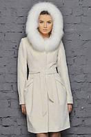 Пальто с натуральным мехом песец на капюшоне