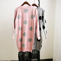 Тёплые вязаные платья в горох с кружевом(цвета)