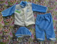 Комплект (штанишки, кофточка на пуговках, шапочка), махра