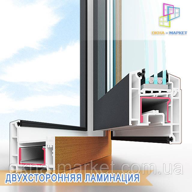"""Двусторонняя ламинация пластиковых окон, фирма """"Окна Маркет"""""""