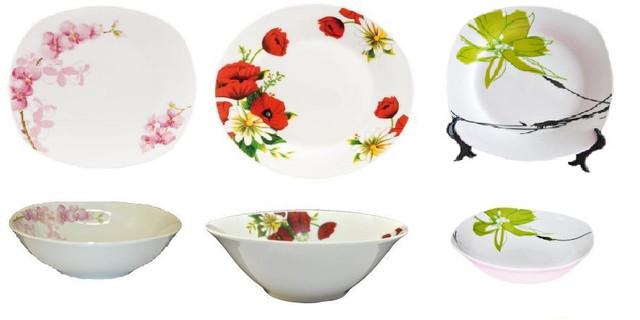 Фарфоровые тарелки, салатники