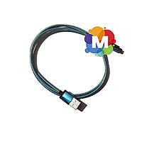 Кабель USB  microUSB, Gold/Blue, 1 м, алюминиевые коннектора, оплетка, Shrink
