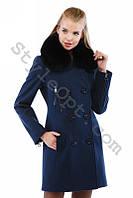 Зимнее кашемировое пальто с натуральным мехом на пуговицах