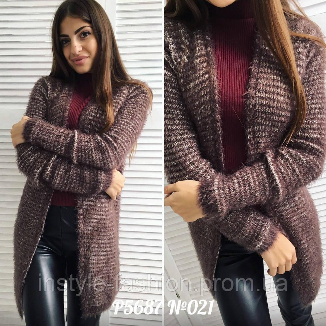Кардиган женский ткань машинная вязка+ворс цвет коричневый