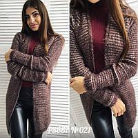 Кардиган женский ткань машинная вязка+ворс цвет коричневый, фото 1