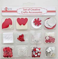 Набор декоративных украшений для скрапбукинга, 12шт/уп, красный, 952089
