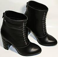 Ботинки осенние женские Cluchini 3754  черные, натуральная кожа,  на каблуке 10 см, молния, высокие.