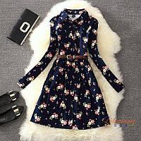 Женское платье рубашка с длинными рукавами и розами синее + пояс