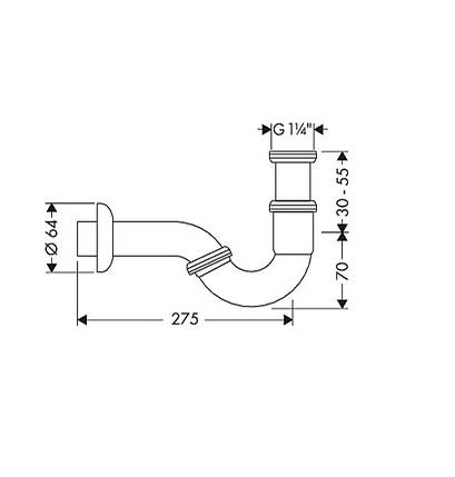 Cифон трубчатый для биде Hansgrohe (55237000), фото 2