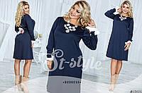 Женское синее платье с манжетами-бантами