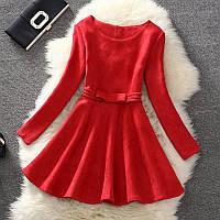 Платье женское под замш с бантиком красное
