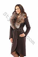 Длинное женское кашемировое пальто с натуральным мехом