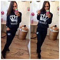 Женский спортивный костюм ткань двухнитка цвет черный