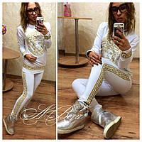 Женский спортивный костюм ткань двухнитка цвет белый с золотом, фото 1