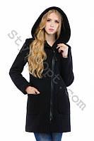 Зимнее кашемировое пальто с капюшоном на молнии