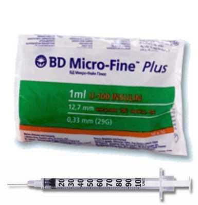 Шприц инсулиновый BD Microfine U-40 обьем 1мл игла 0.3*8 мм (10шт)
