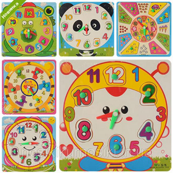 Деревянные игрушки - рамка вкладыш часы 4 вида