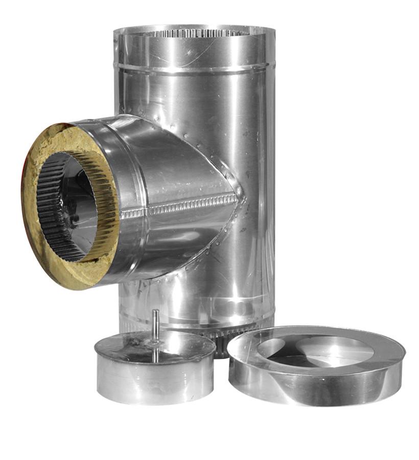Тройник дымоходный 90 градусов из нержавеющей стали в кожухе из оцинковки ф120/190  0,6/0,6мм  AISI 430