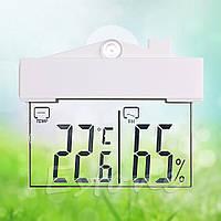 Термометр (градусник) гигрометр (влагомер) електронный на окно прозрачный