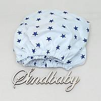 Детская простынь на резинке в кроватку, синяя звездочка 60х120 см