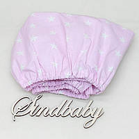Детская простынь на резинке в кроватку, розовая звездочка 60х120 см