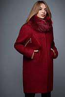 Теплое пальто для будущих мам Марсала-48-50