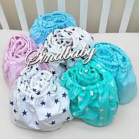 Детская простынь на резинке в круглую кроватку, разные цвета 72х72 см