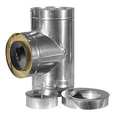 Тройник дымоходный 90 градусов из нержавеющей стали в кожухе из оцинковки ф130/200 0,6/0,6мм  AISI 430