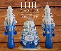 """Carved candles """"Семейный очаг"""" №1022 На табличке размещаем Имена и дату вашей свадьбы"""