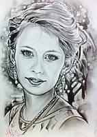 Портрет для лучшей подруге рисование карандашом на бумаге для необычного подарка любимой
