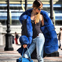 "Парка  плащовка Песец полностью цвет electric blue ""Kaylee"""