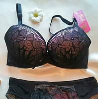 Комплект бюстик+трусики слип, чорный с розовим,удобная чашка, кружева, семные брете TUBA _В 727_ч