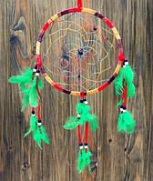 """Ловец снов """"Круг"""" цветной с зелёными перьями (20х20 см)"""