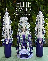 Свечи свадебные резные для ритуала Семейный очаг №1028 (Фиолетово-зеленый с кольцами и табличкой)