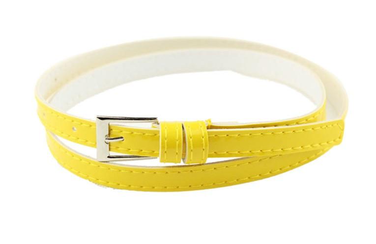 Пояс женский Тонкий желтый/ цвет желтый/ материал PU