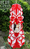 """Свеча для венчания №1029 (Цвет красный с статуэткой """"Жениха и Невесты"""")"""