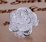 Кольцо Роза серебро 925 проба Регулируемое, фото 6