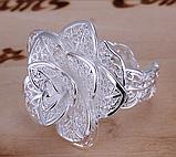 Кольцо Роза серебро 925 проба Регулируемое, фото 7