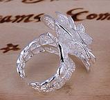 Кольцо Роза серебро 925 проба Регулируемое, фото 8