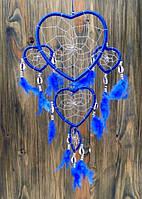 Ловец снов из 5 сердец с каури синий