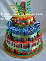 """Угощение в детский сад ко дню рождения ребенка из сока,барни,чупа-чупс на 30 детей""""Торт с цифрой"""", фото 1"""