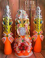 """Именной набор свадебных свечей для церемонии""""Семейный очаг"""" №1033 (Разноцветный с букетом цветов и табличкой)"""